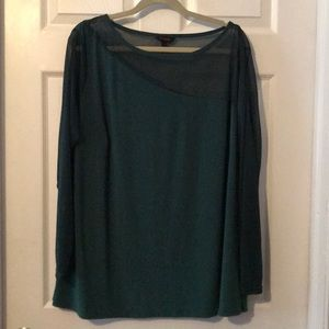 Green shear sleeved/one shoulder top